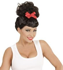 Rockabilly Pin Up Girl Wig - Black with Red Bow